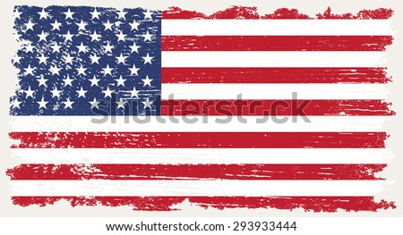 Grunge USA flag.American flag with grunge texture.Vector template. - stock vector