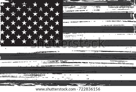Grunge USA Flag Black And White Vintage American Vector Of The
