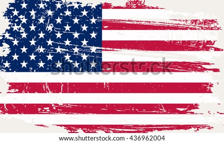 Grunge USA flag.Old American flag.Flag of United States.Vector illustration. - stock vector