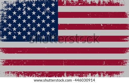 Grunge USA flag.Old American flag.Vector template. - stock vector