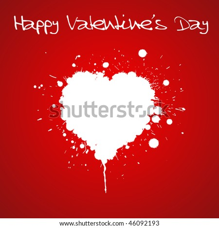 Grunge Valentines day card - heart from spatters - stock vector