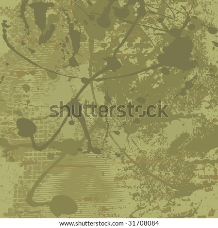 Grunge vector background in olive tones