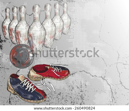 Grunge vector background of a bowling design - stock vector