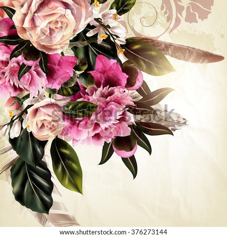 Grunge vector background with rose and peony flowers in vintage style - stock vector