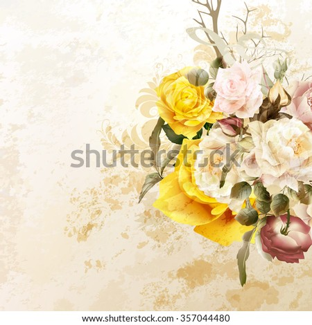 Grunge vector background with rose  flowers in vintage style - stock vector