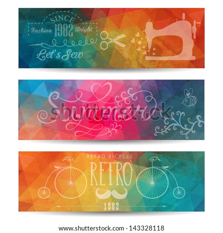 Grunge vector  banner. Abstract header  vector background. Triangle seamless banners. Retro label design. Geometric shapes. You can place your message above triangles rectangle. Grunge. - stock vector