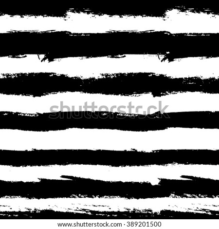 Grunge Vector Brush Strokes Striped Seamless Pattern. Vibrant geometric lines background. Hand drawn stripes pattern for print, textile design, fashion. Distress painted texture. Black and white - stock vector
