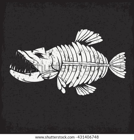 grunge vector design template of aggressive tropical fish skeleton - stock vector