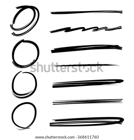 grunge vector frames, hand drawn circle frames, brush lines, underlines - stock vector