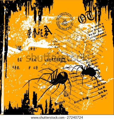 grunge vector illustration of spider - stock vector