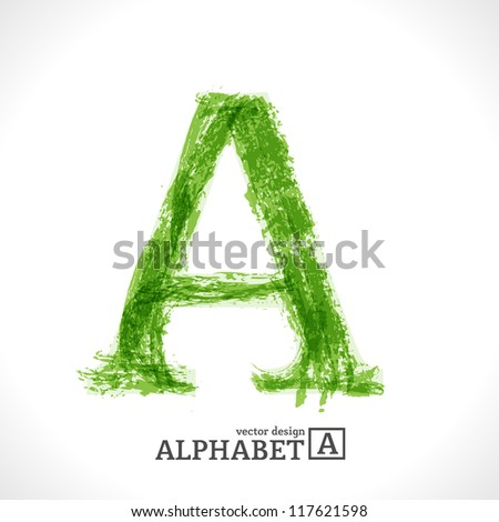 Grunge Vector Letter. Green Eco Style. Font Symbol A. - stock vector