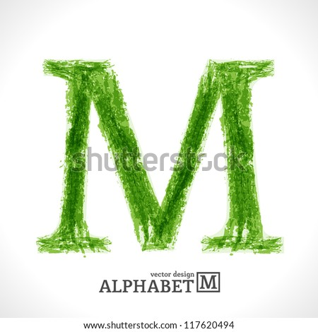 Grunge Vector Letter. Green Eco Style. Font Symbol M.