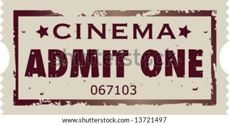 Grunge vector movie ticket stub - stock vector