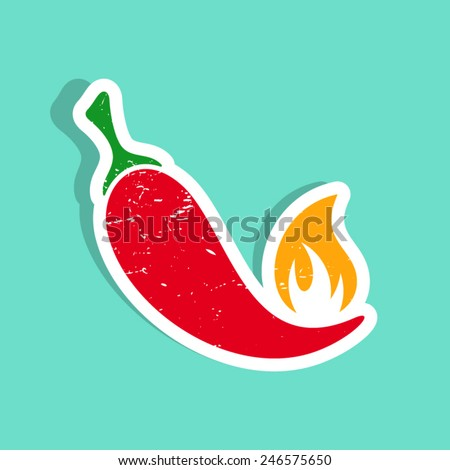 Grunge vector red hot chilli pepper with flame - stock vector