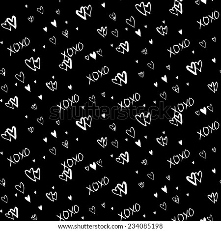 Grunge vector seamless pattern with hand painted hearts and words xoxo. Bright ditsy print for valentines day wrapping paper decor or wedding invitation card background in black and white colors - stock vector