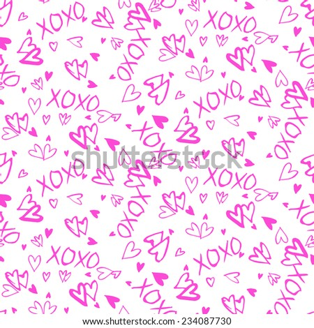 Grunge vector seamless pattern with hand painted hearts and words xoxo. Bright ditsy print for valentines day wrapping paper decor or wedding invitation card background in pink and white colors - stock vector