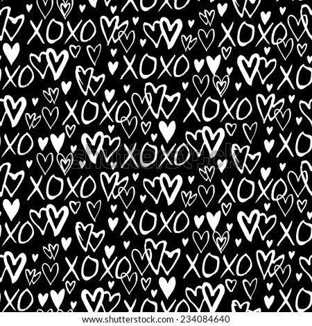 Grunge vector seamless pattern with hand painted hearts and words xoxo. Ditsy print for valentines day wrapping paper decor or wedding invitation card background in black and white colors - stock vector