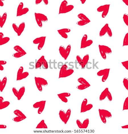 Grunge vector seamless pattern with hand painted hearts. Texture for web, print, valentines day wrapping paper, wedding invitation card background, textile, fabric, home decor, romantic gift paper - stock vector