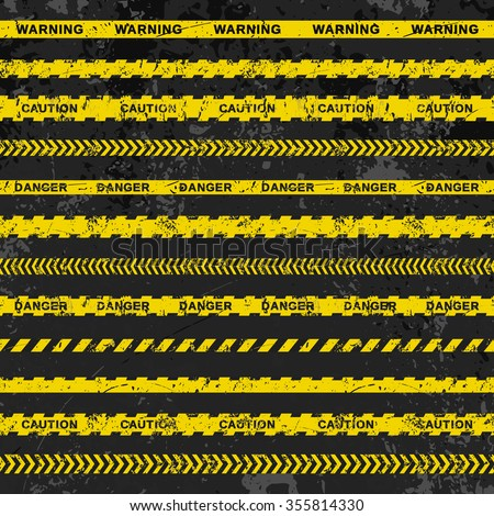 "Grunge vector set of caution tapes on dark background. Illustration consists of ""Warning"", ""Danger"", ""Caution"" tape with text and different tapes without signs. Fully editable file for your projects. - stock vector"