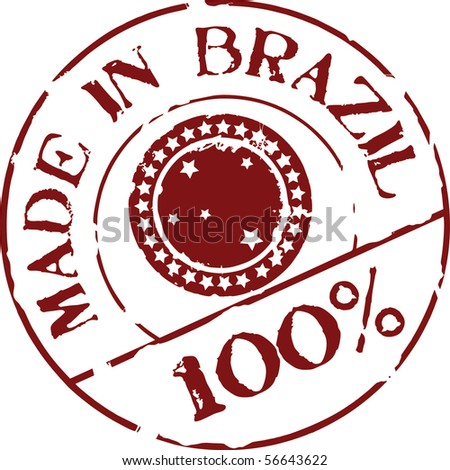 Grunge vector stamp with words Made in Brazil 100% - stock vector