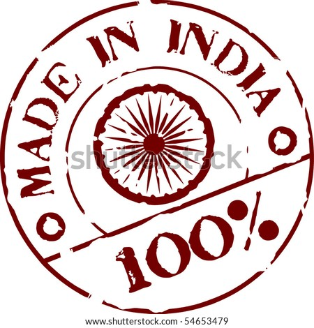 Grunge vector stamp with words Made in India 100% - stock vector