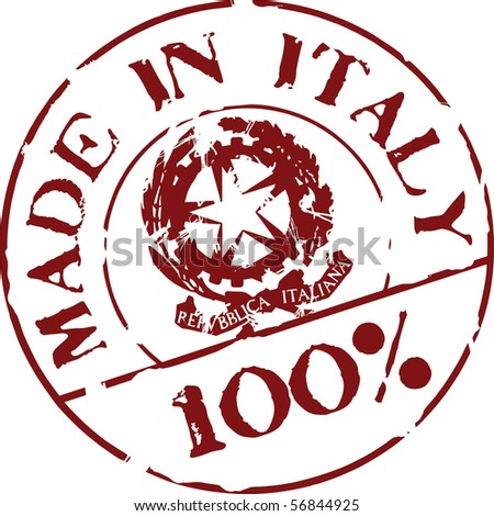 Grunge vector stamp with words Made in Italy 100% - stock vector