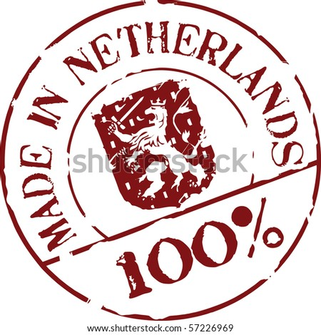 Grunge vector stamp with words Made in Netherlands 100%
