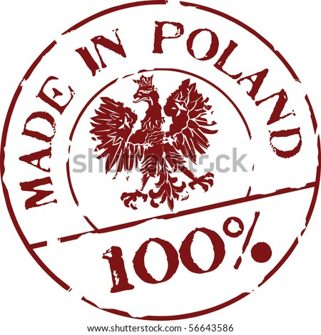 Grunge vector stamp with words Made in Poland 100% - stock vector