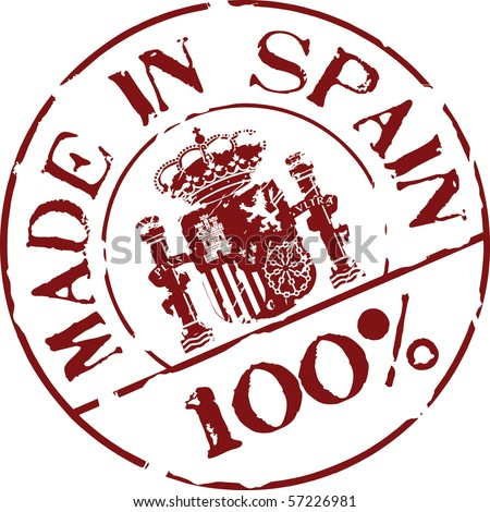 Grunge vector stamp with words Made in Spain 100% - stock vector