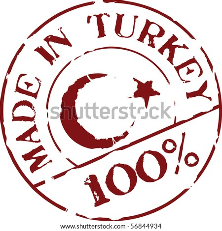 Grunge vector stamp with words Made in Turkey 100% - stock vector