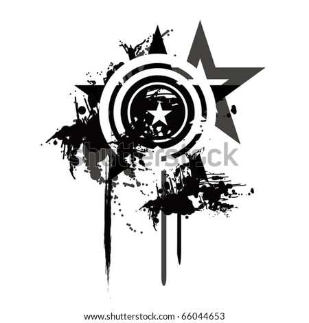 grunge vector star with reflection - stock vector
