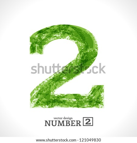 Grunge Vector Symbol. Green Eco Style. Number 2. - stock vector