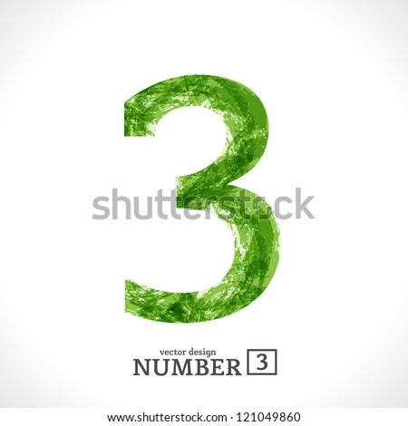 Grunge Vector Symbol. Green Eco Style. Number 3. - stock vector