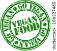 Grunge vegan food rubber stamp, vector illustration - stock vector