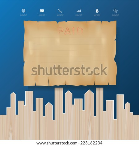 Grunge vintage paper with image outline city of wood. Abstract conceptual image template. - stock vector