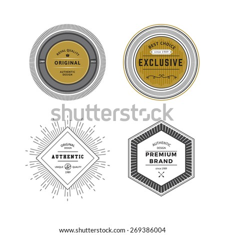 Grunge Vintage Premium Labels Set. Vector Retro Design Elements for Business Signs, Logos, Identity Elements, Badges, Frames, Borders. - stock vector