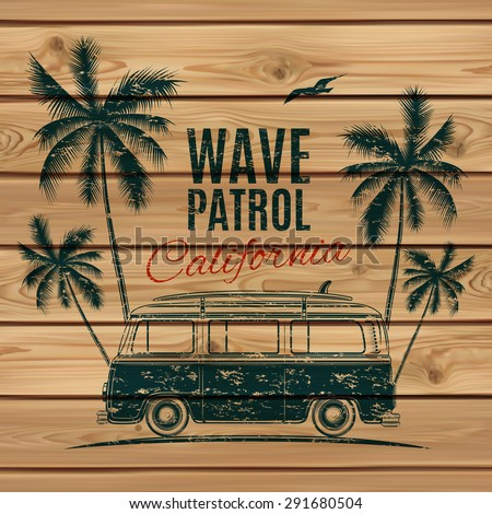 Grunge, vintage, retro surf van with palms and a gull, on wooden planks. Vector illustration. - stock vector
