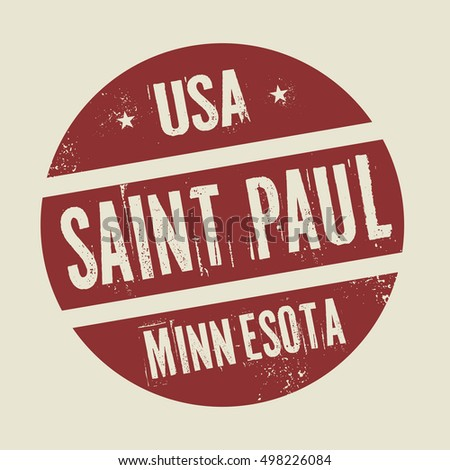 Grunge vintage round stamp with text Saint Paul, Minnesota, vector illustration