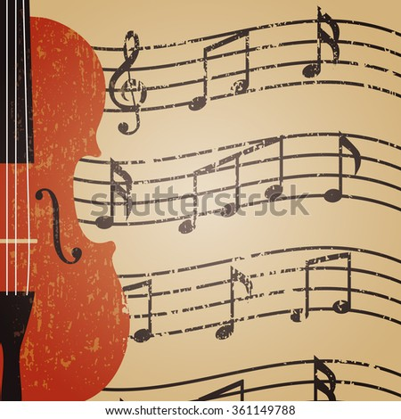grunge violin with key note, retro background - stock vector
