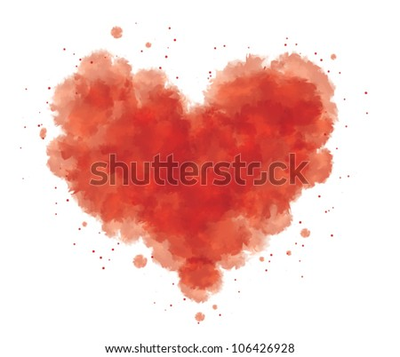 grunge watercolor abstract heart with blood - stock vector