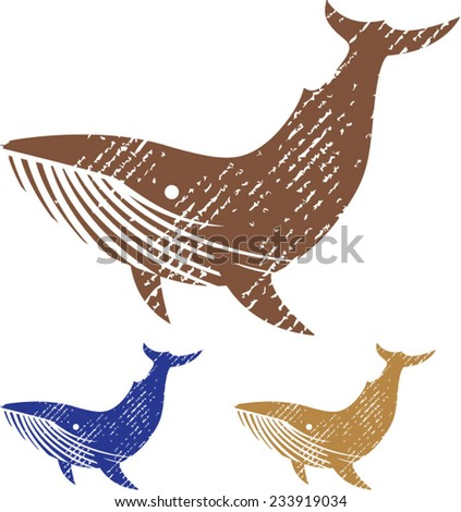 Grunge Whale vector - stock vector