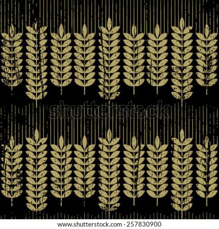 grunge wheat seamless pattern - stock vector