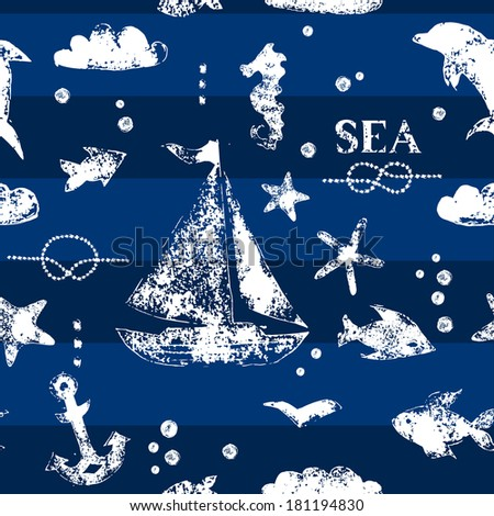 Grunge white stamp print sailboat, anchor, fishes, seagull on navy blue background seamless pattern, vector - stock vector