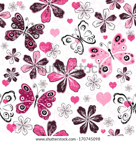 Grunge white valentine seamless floral pattern with butterflies (vector) - stock vector