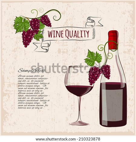 Grunge wine background with hand drawn bottle of wine, glass of wine, grape brunches and place for text. Vector illustration. - stock vector