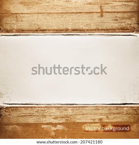 grunge wood frame vector background, vintage paper texture - stock vector