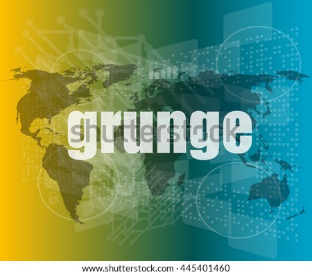 grunge words on digital touch screen interface vector quotation marks with thin line speech bubble. concept of citation, info, testimonials, notice, text box. flat style - stock vector