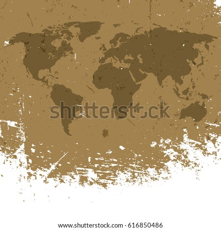 Grunge world map background abstract old stock vector 616850486 grunge world map background abstract old aged geography vector background isolated edge to white gumiabroncs Gallery
