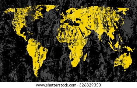 grunge world map on a black background. - stock vector