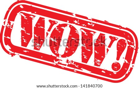 Grunge wow rubber stamp, vector illustration - stock vector